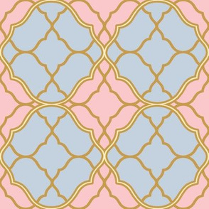 Ogee Trellis ~ Versailles Fog, Dauphine and Trianon Cream with Gilt