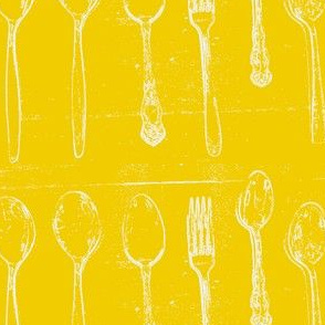 Spoons & 1 Fork  Yellow