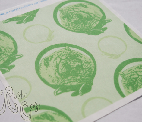 Collared Chow Chow portraits - green