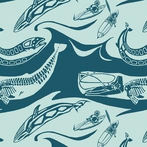 Whales blue teal med