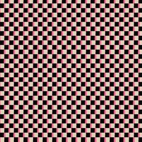 Cappuccino Cream (TAN), Black and Coral Pink Boho Checkerboard