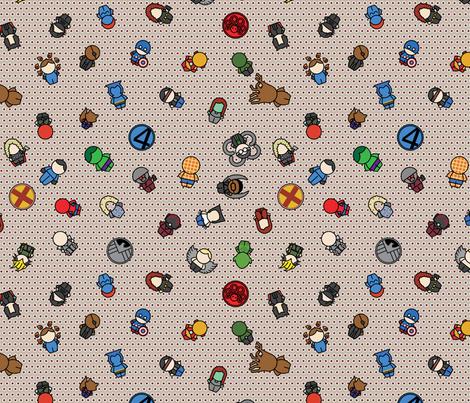 Mightiest Heroes - 12 in (maroon) fabric by studiofibonacci on Spoonflower - custom fabric