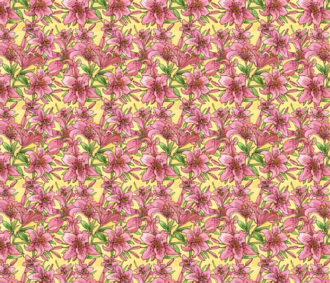 Pink Lilies fabric by julistyle on Spoonflower - custom fabric