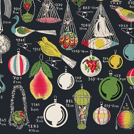 Erwin Geyer Vintage Christmas Ornaments fabric by retrorudolphs on Spoonflower - custom fabric