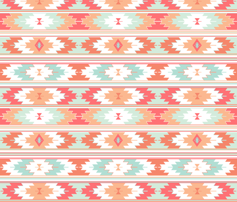coral kilim fabric by ivieclothco on Spoonflower - custom fabric