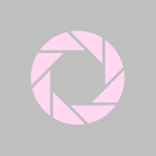 Pink aperture on grey