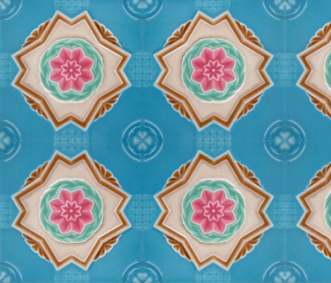 VINTAGE PERANAKAN TILE MAJOLICA SINGAPORE AUTHENTIC fabric by 3arwax on Spoonflower - custom fabric