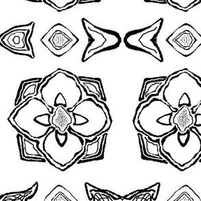 Black and White Flower Tile