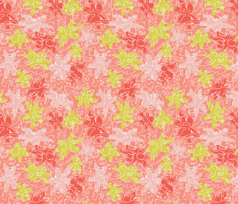 Bunny Doodles and Flowers Coral and Pink fabric by vinpauld on Spoonflower - custom fabric