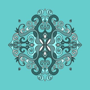 Mandala - Snow Flake Damask - Aqua