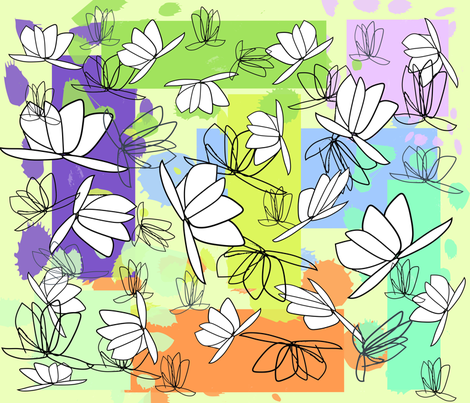 Flying_Lillies_in_the_Night fabric by designergena on Spoonflower - custom fabric