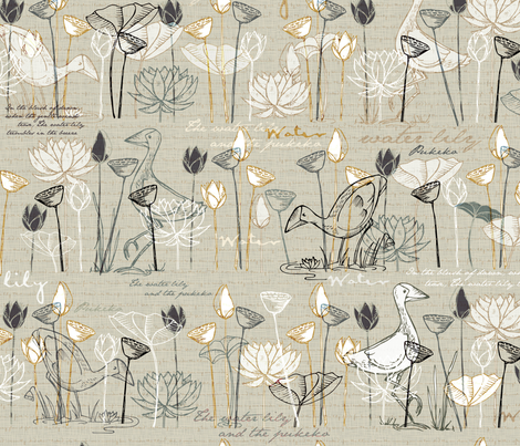 Lily and Pukeko fabric by mulberry_tree on Spoonflower - custom fabric
