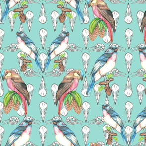repeat_off_set_skulls_with_birds_green_background