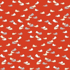baby ditsy whale on red