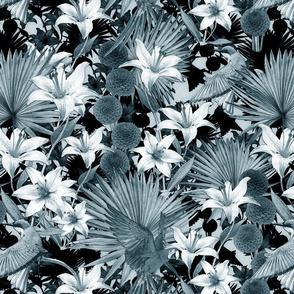 jungle monochrome blue