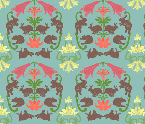 lily_and_rabbit_damask fabric by mophead on Spoonflower - custom fabric