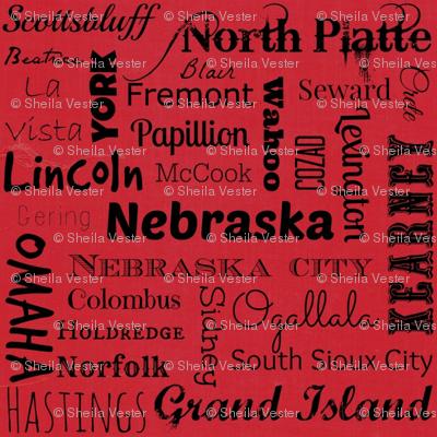Nebraska Cities - red