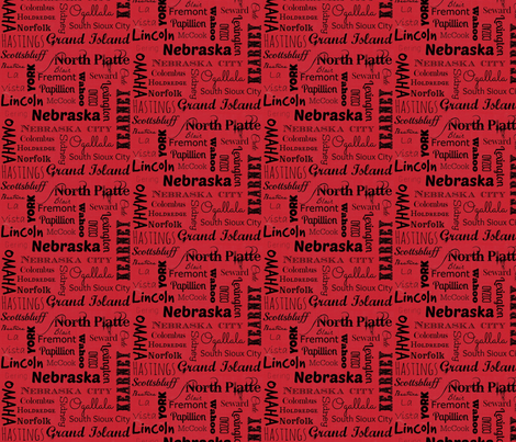 Nebraska Cities - red fabric by svester on Spoonflower - custom fabric