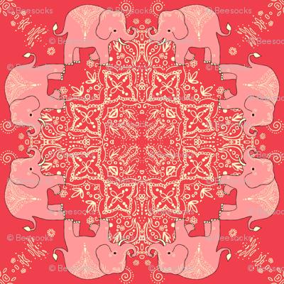 Coral Mehndi Elephant Dance Party Kaleidoscope fabric