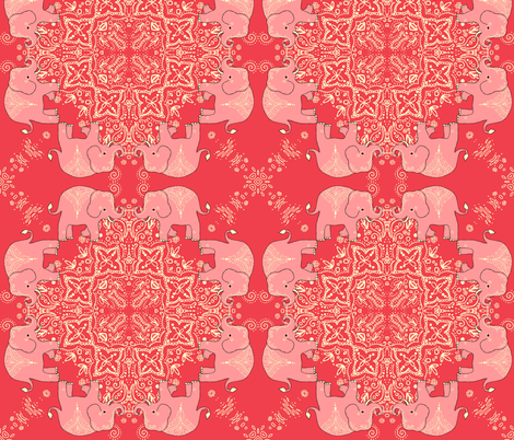Coral Mehndi Elephant Dance Party Kaleidoscope fabric fabric by beesocks on Spoonflower - custom fabric