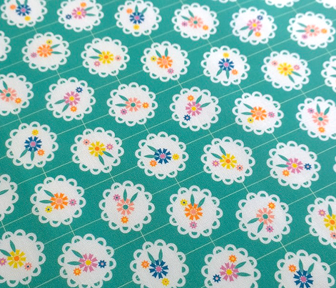 Wedgewood (Green) || flowers flower floral doily doilies vintage shabby chic garden lattice polka dots nature leaves garden