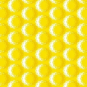 Glenview (Yellow) || doily doilies circles polka dots shadow sun sunshine summer flowers geometric