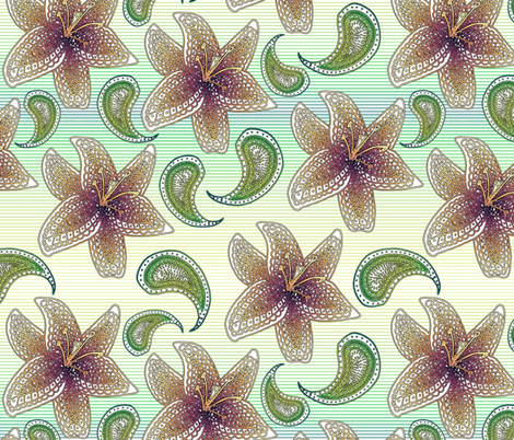 Lilies fabric by analinea on Spoonflower - custom fabric