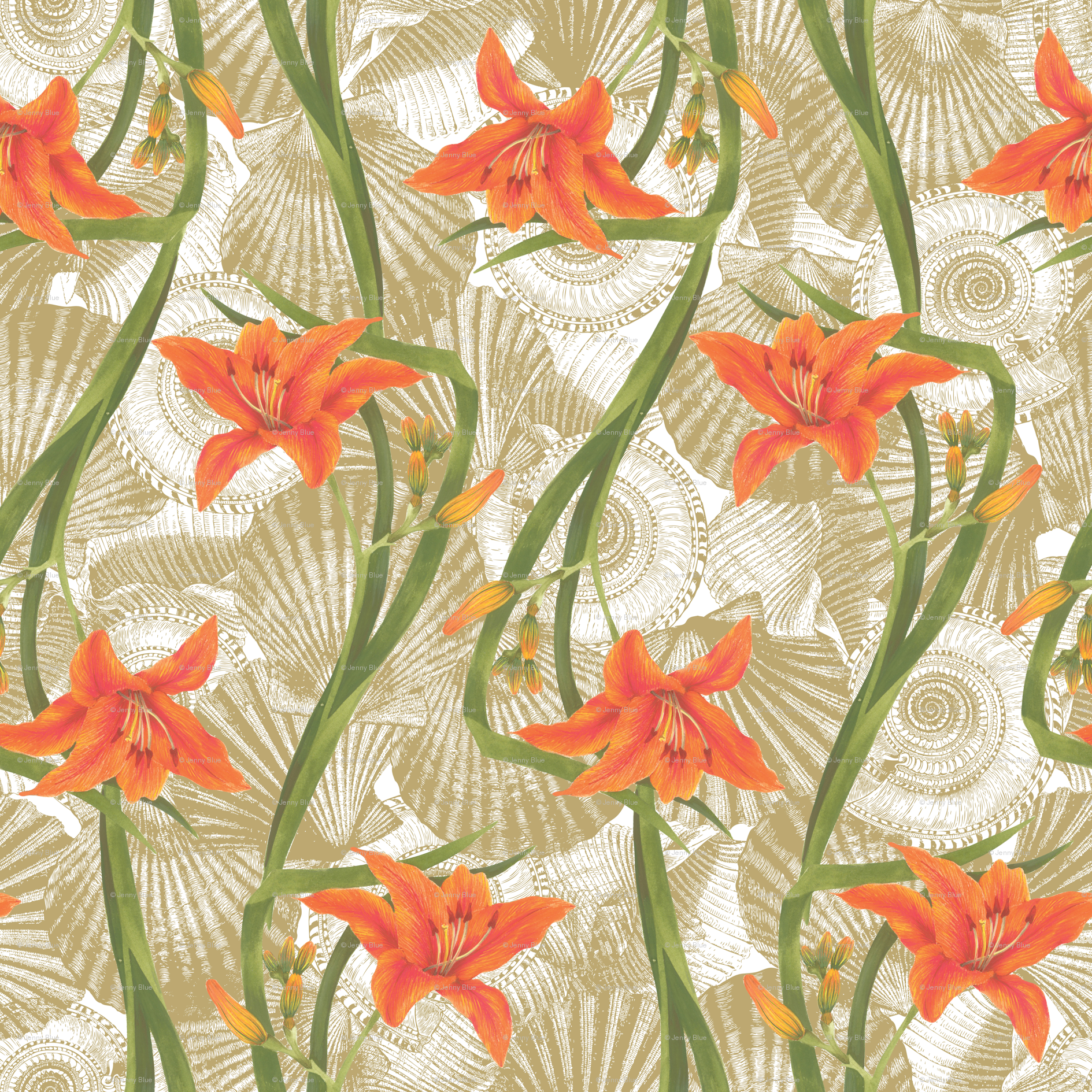Tiger Lily Fabric Cosecreative Spoonflower