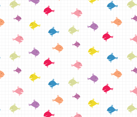 Rainbow fish with squares 04 fabric doris fred spoonflower for Rainbow fish fabric