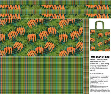 'tasty carrots' tote market bag fabric by kociara on Spoonflower - custom fabric