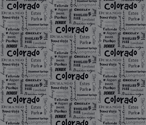 Cities of Colorado-grey fabric by svester on Spoonflower - custom fabric