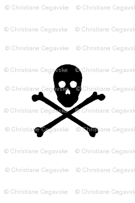 black skull and crossbones on white
