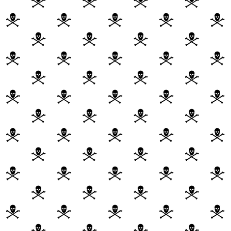 black skull and crossbones on white fabric by littlemisscrow on Spoonflower - custom fabric
