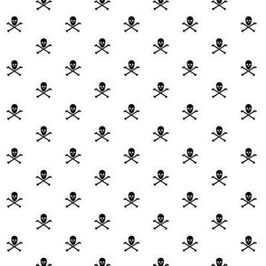 black skull and crossbones on white