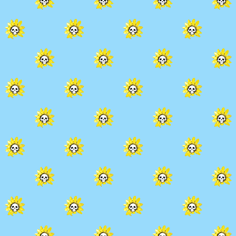 Skull Sunflower on Blue fabric by littlemisscrow on Spoonflower - custom fabric