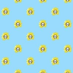 Skull Sunflower on Blue