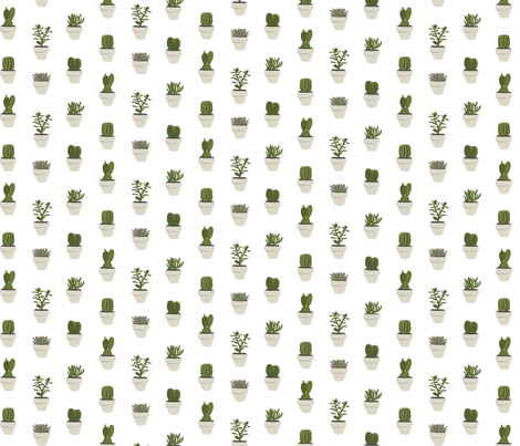Cacti and succulent (White) fabric by crumpetsandcrabsticks on Spoonflower - custom fabric