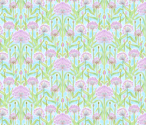 Allium Garden Blue fabric by vinpauld on Spoonflower - custom fabric