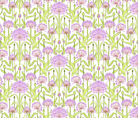 Allium Garden White fabric by vinpauld on Spoonflower - custom fabric