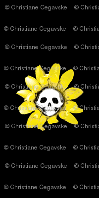 Skull Sunflower on Black