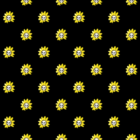 Skull Sunflower on Black fabric by littlemisscrow on Spoonflower - custom fabric