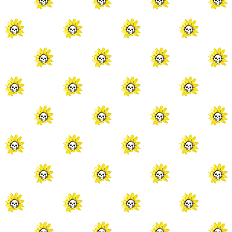 Skull Sunflowers on White fabric by littlemisscrow on Spoonflower - custom fabric