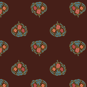 Persian flowers - brown - medium
