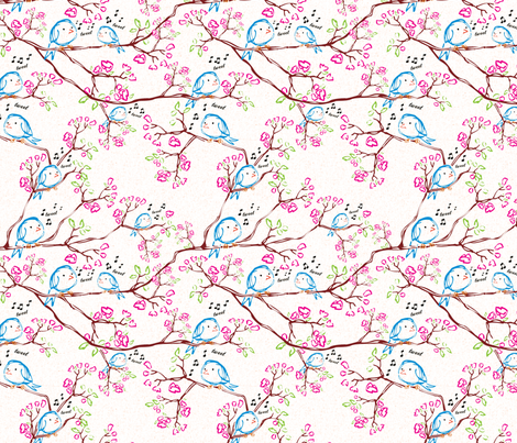 Tweet Bird with Texture fabric by vinpauld on Spoonflower - custom fabric