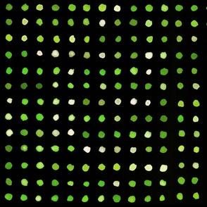 watercolour dots green on black