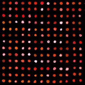 watercolour dots orange on black