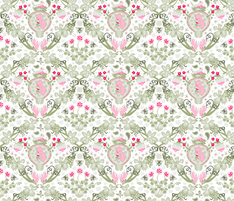 The Birds and the Bees - Fertility Damask fabric by chantal_pare on Spoonflower - custom fabric
