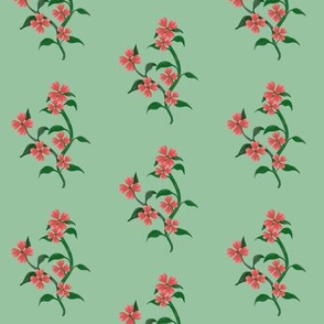 Watercolor Hearts Floral Vine Print Green