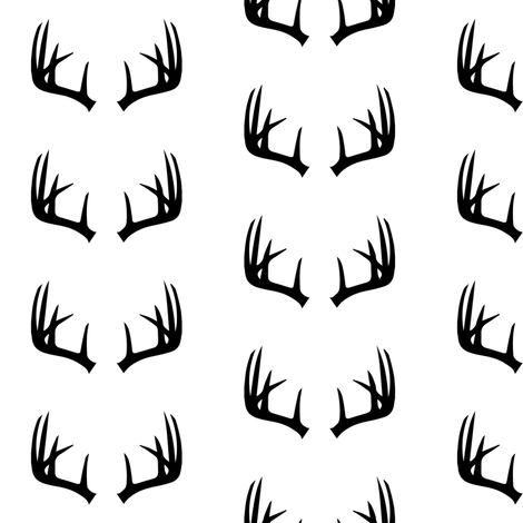 B&W Antlers // small scale fabric by littlearrowdesign on Spoonflower - custom fabric