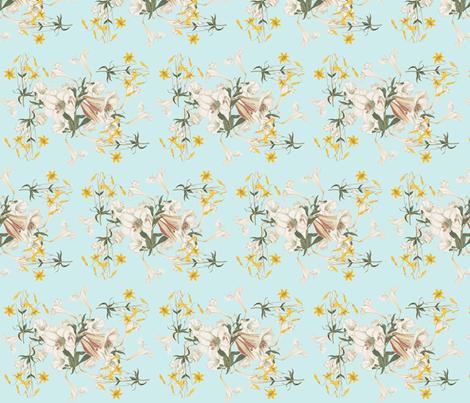 Lilies & Robin's Egg fabric by rmurdock on Spoonflower - custom fabric